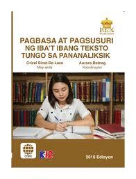 SHS - Pagbasa at Pagsusuri ng Iba't Ibang Tesksto Tungo sa Pnanaliksik